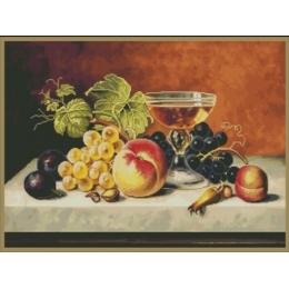 Набор для вышивки крестом - MAGIC CROSS STITCH - 005 Натюрморт с фруктами и шампанским