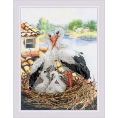 Набор для вышивки крестом Риолис РТ-0088 Семейство аистов