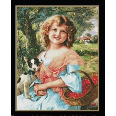 Набор для вышивки крестом - MAGIC CROSS STITCH - Девочка с вишнями