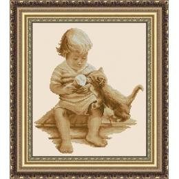 Набор для вышивки крестом - ЛЕДИ - Мальчик и котенок 01063