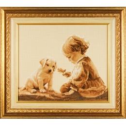 Набор для вышивки крестом - ЛЕДИ - Девочка и щенок 01064