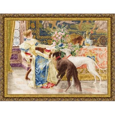 Дама с борзыми - Золотое руно - набор для вышивки крестом