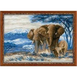Набор для вышивки крестом - РИОЛИС - 1144 Слоны в Саванне