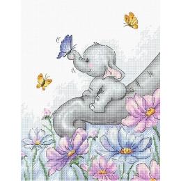 Набор для вышивки крестом Luca-S B1183 Слон с бабочкой