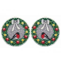 Набор для вышивки крестом - Овен - 1362 Новогодние игрушки. Веночек