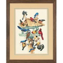 Набор для вышивки крестом - Dimensions - 13683 Feasting Frenzy Birdhouse Birds / Птичья Кормушка