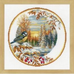 Тарелка с синицей - РИОЛИС - набор для вышивки крестом