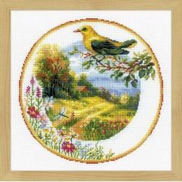 Тарелка с иволгой - РИОЛИС - набор для вышивки крестом