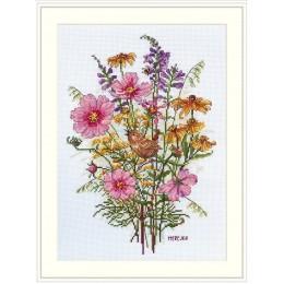 Набор для вышивки крестом - ТМ Мережка - К-197 Сентябрьские цветы и крапивник
