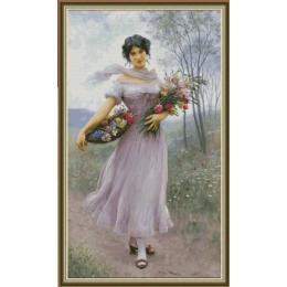 Девушка в сиреневом платье - Фантазия ТМ - набор для вышивки крестом
