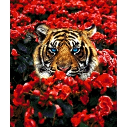 Тигр в цветах - Токарева А. - авторский набор вышивки бисером