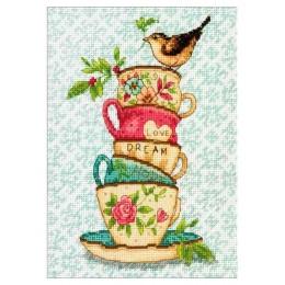 Stacked Tea Cups // Пирамида чашек - Dimensions - набор для вышивки крестом