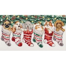 Набор для вышивки крестом PANNA ПР-7260 Новогодние щенки
