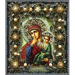 Вышивка бисером икон - Образа в каменьях - 77-ц-10 Икона Богородицы отрады или утешения