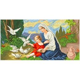 Набор для вышивка бисером икон - БС Солес - Богородица и голуби (большая)