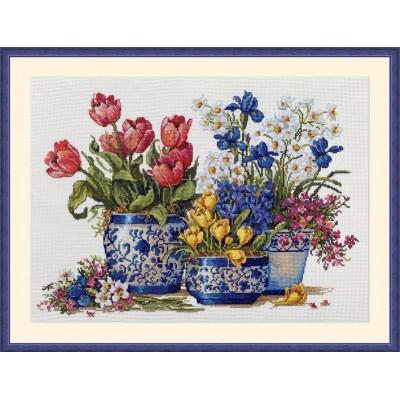Набор для вышивки крестом - ТМ Мережка - Весенний сад в синем К-195