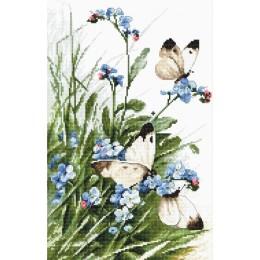 Butterflies and bluebird flowers - LETISTITCH - набор вышивки крестом