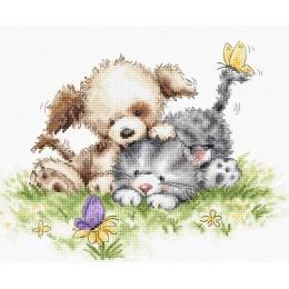 Набор для вышивки крестом Luca-S B1185 Собака и кошка с бабочкой