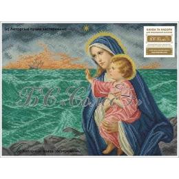 Набор для вышивка бисером икон - БС Солес - Богородица с Иисусом (морская)