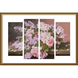 Сирень и розы (полиптих) - Новая Слобода - набор для вышивки крестом