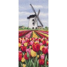 Dutch Tulips Landscape / Пейзаж с тюльпанами - Anchor - набор вышивки крестом