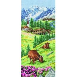 Swiss Alpine Landscape / Альпийский пейзаж - Anchor - набор вышивки крестом