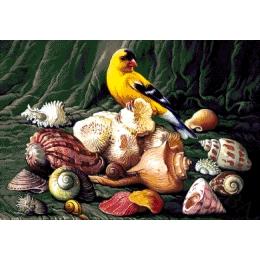 Птица и ракушки - Токарева А. - авторский набор вышивки бисером