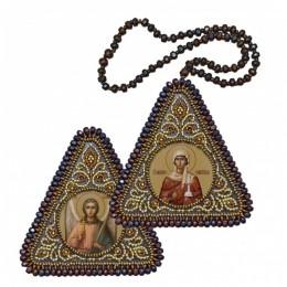 Двусторонняя икона Св. Вмц. Анастасия Узорешительница и Ангел Хранитель - Нова Слобода - вышивка бисером иконы