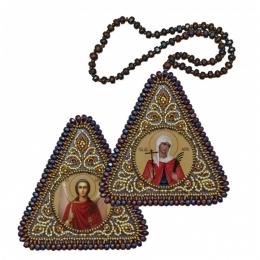 Двусторонняя икона Св. Вмц. Валентина и Ангел Хранитель - Нова Слобода - вышивка бисером иконы