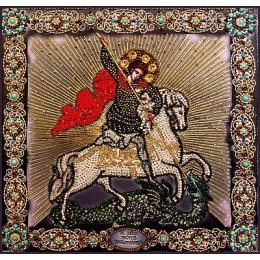 Вышивка бисером икон - Образа в каменьях - Святой Георгий Победеносец