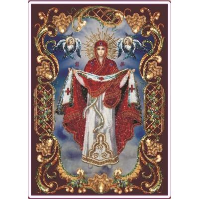 Вышивка бисером икон - Изящное рукоделие - Икона ПОКРОВА ПРЕСВЯТОЙ БОГОРОДИЦЫ (в рамке)