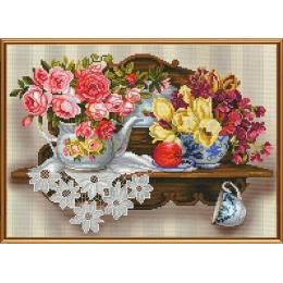 Цветочный романс - Нова Слобода - набор вышивки в смешанной технике