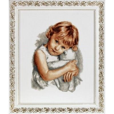 Девочка с мишкой - Алисена - набор вышивки крестом