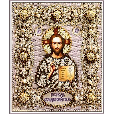 Икона Господь Вседержитель (часть венчальной пары) - Образа в каменьях - вышивка бисером икон