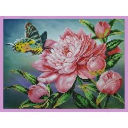 Пион с бабочкой - Картины бисером - набор для вышивки бисером