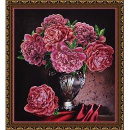 Бархатные пионы - Картины бисером - набор для вышивки бисером