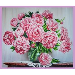 Букет розовых пионов - Картины бисером - набор вышивки бисером