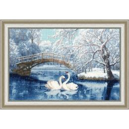 Набор для вышивки крестом - Золотое руно - ЛП-036 Белые лебеди