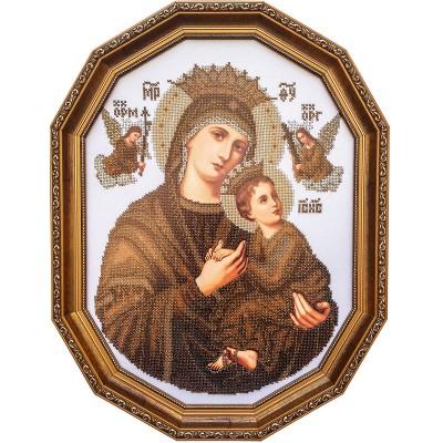 Икона Богородица Неустанной Помощи (сепия) - БС Солес - вышивка бисером икон