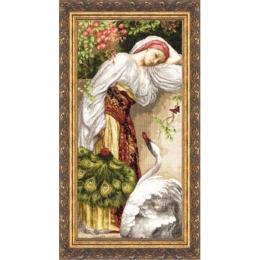 Девушка с лебедем - Золотое руно - набор вышивки крестом