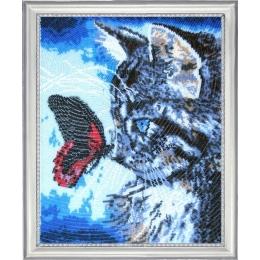 Набор для вышивки бисером - Butterfly - №596 Котенок и бабочка