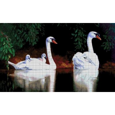 Лебединая семья - Токарева А. - авторский набор вышивки бисером