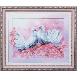 Набор для вышивки бисером - Магия канвы - Любовь и голуби Б-171