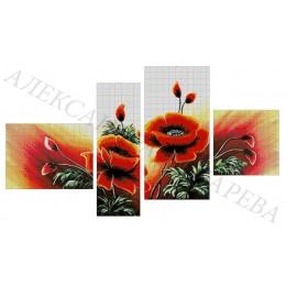 Авторский набор для вышивки бисером - Токарева А. - МАКИ (полиптих) 48-3160-НМП