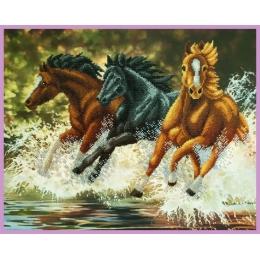 Бегущие лошади - Картины бисером - набор для вышивки бисером