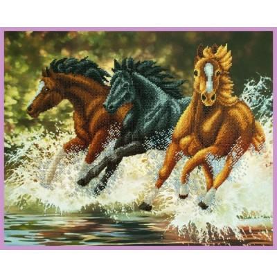 Набор для вышивки бисером - Картины бисером - Бегущие лошади