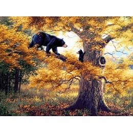 Авторский набор для вышивки бисером - Токарева А. - Медведи на дереве 43-4880-МН