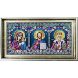 Икона тройная (Спаситель, Божья Матерь Казанская, Святой Николай Чудотворец) - Картины бисером - вышивка бисером икон