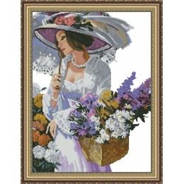 Набор для вышивки крестом - Фантазия ТМ - 200/41 Девушка с зонтиком (полная зашивка)