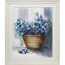 Синие цветы - Золотые ручки - набор вышивки крестом